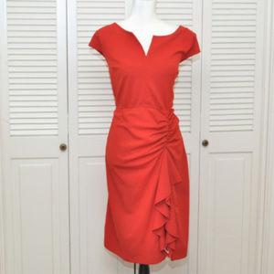 eShakti Red Ruched Ruffle Dress Sz XL
